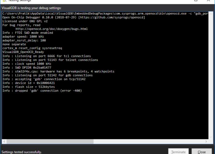 Error LIBUSB_ERROR_IO with VisualGDB debugger