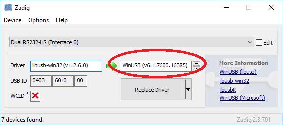 Zadig install winusb driver visualgdb ft2232 adapter