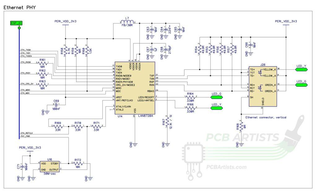 ESP32 ethernet phy schematic