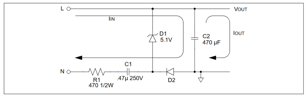 ESP32 capacitive ac mains power supply schematic