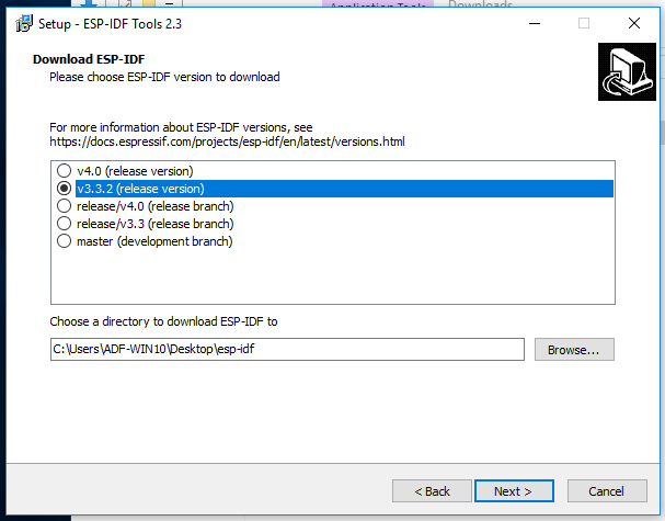 windows esp32 idf tool select idf version