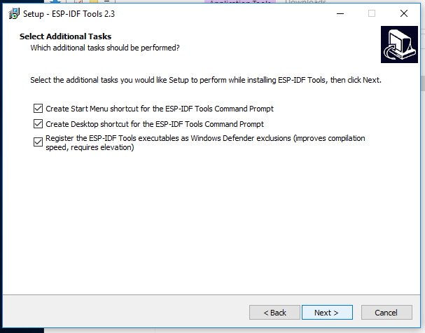 windows esp32 idf tool select install shortcut