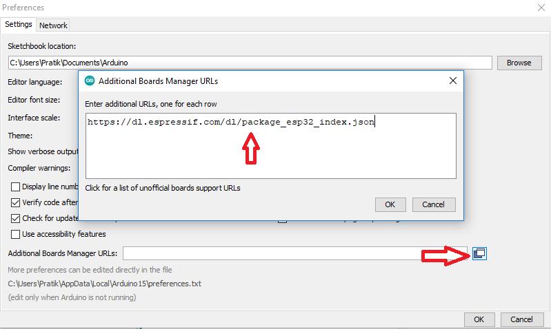 arduino esp32 add board package json link