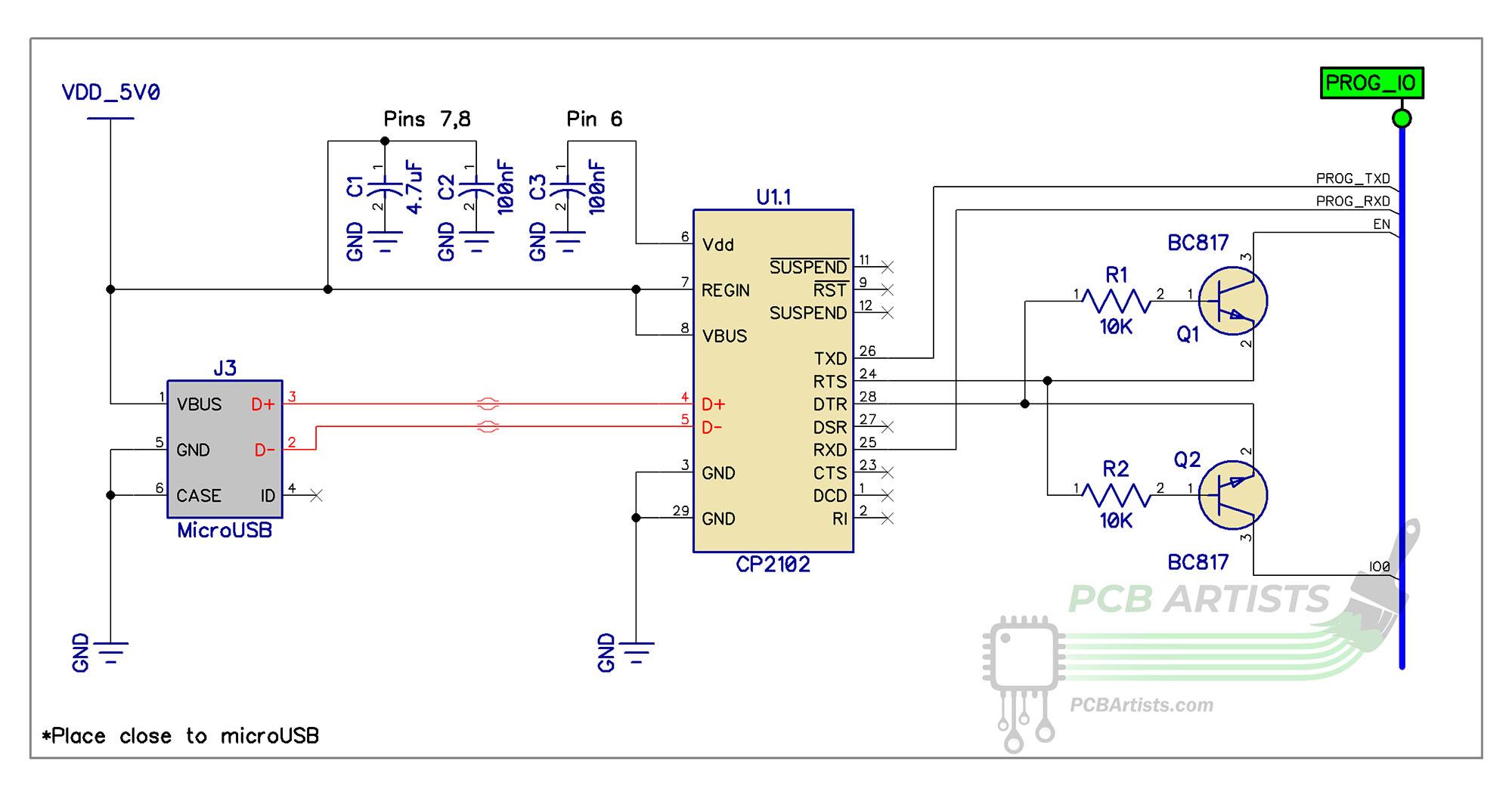 esp32 cp2102 programmer schematic for espressif esp32 esp8266