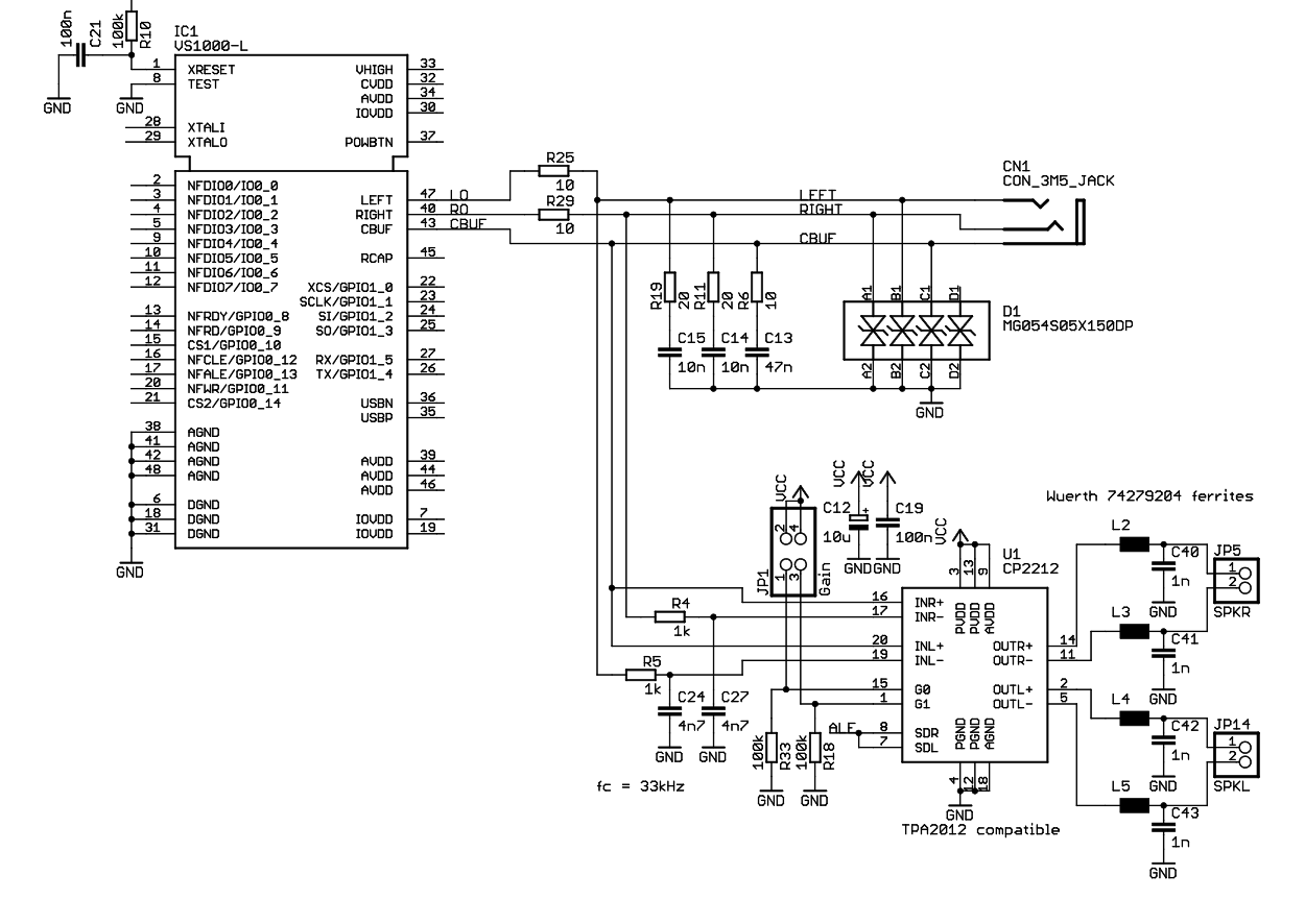 VS1000 line out and audio amplifier schematic