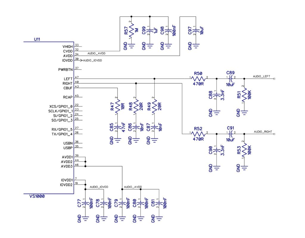 VS1000 line out schematic with filter